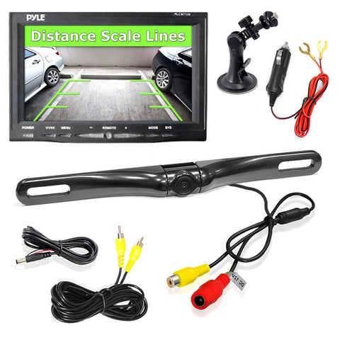 "Pyle PLCM7500 7"" Window Suction-Mount LCD Monitor & License Mount Backup Camera - Audiovideodirect"