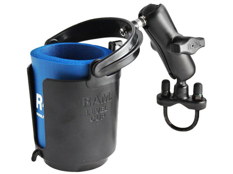 RAM Mounts (RAM-B-132R) Handlebar Rail Mount With Zinc Coated U-Bolt Base, Self-Leveling Cup Holder & Cozy - Audiovideodirect