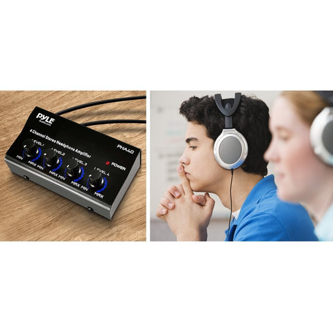 Pyle-Pro PHA40 Black 4-Channel LED Indicator Stereo Headphone Amplifier - Audiovideodirect