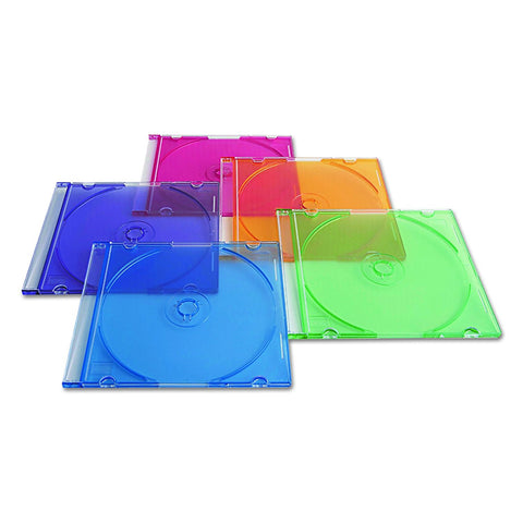 Verbatim Slim CD and DVD Storage Cases - 50 Pack - 5 Assorted Colors 94178 - Audiovideodirect