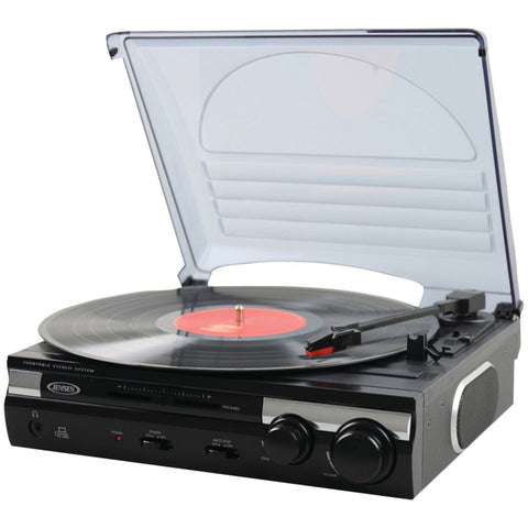 Jensen JTA-230SE 3-Speed Stereo Turntable with Built-in Speakers and Speed Adjustment, Mahagony - Audiovideodirect