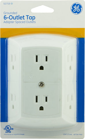 GE Grounded Adapter-Spaced Six-Outlet Tap - Audiovideodirect