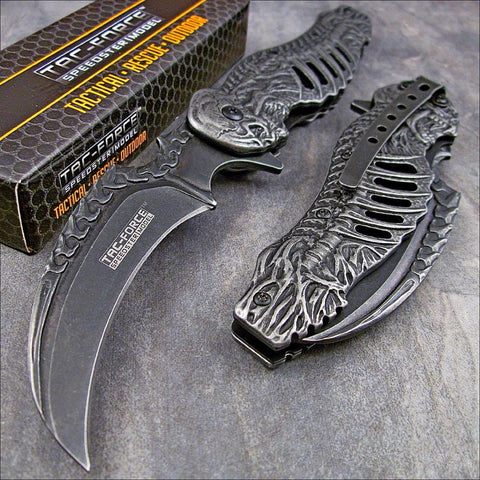 Tac-force TF857 Spring Assisted Skeleton Claw Folding Metal Blade Pocket Knife - Audiovideodirect