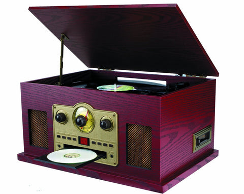 Sylvania SRCD838 5-In-1 Nostalgic Turntable with CD, Casette, Radio, Aux-In - Audiovideodirect