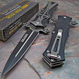 Tac Force TF817BK Aluminum Handle & Stainless Steel Dagger Style Folding Knife - Audiovideodirect