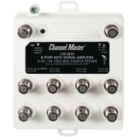 CHANNEL MASTER CM-3418 Ultra Mini Distribution Amp with 8 port. - Audiovideodirect