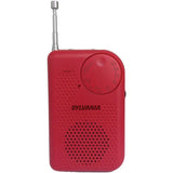 SYLVANIA Brand New SRC100-RED Portable AM/FM Radio with Belt clip -Red - Audiovideodirect
