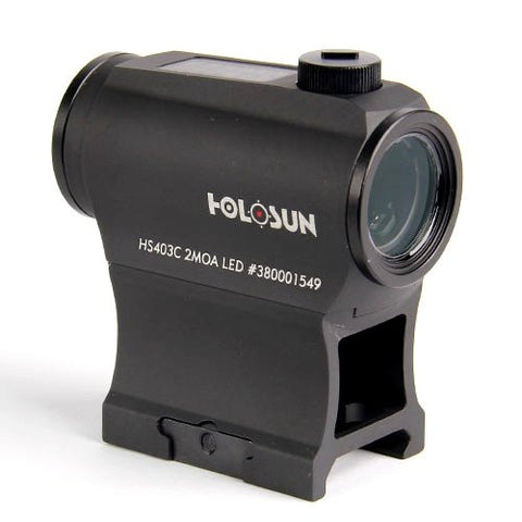 HOLOSUN HS403C 2MOA 50000 hr Battery Life Solar Power Micro Red Dot Sight, Black - Audiovideodirect