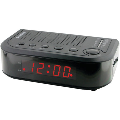 SYLVANIA SCR1388 LED Display Digital AM/FM Alarm Clock Radio with Snooze Control - Audiovideodirect