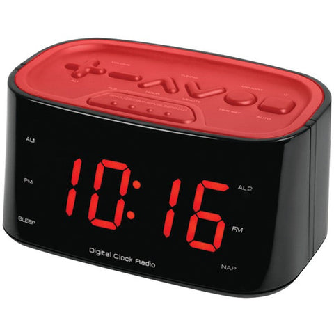"SYLVANIA SCR3128-RED Large 1.2"" LED Display Dual Alarm Clock Radio -Red - Audiovideodirect"