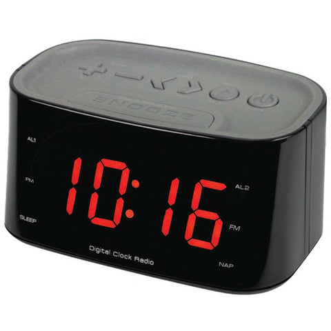 "SYLVANIA SCR3128-WHITE 1.2"" LED Display Bluetooth Dual Alarm Clock Radio -Black"