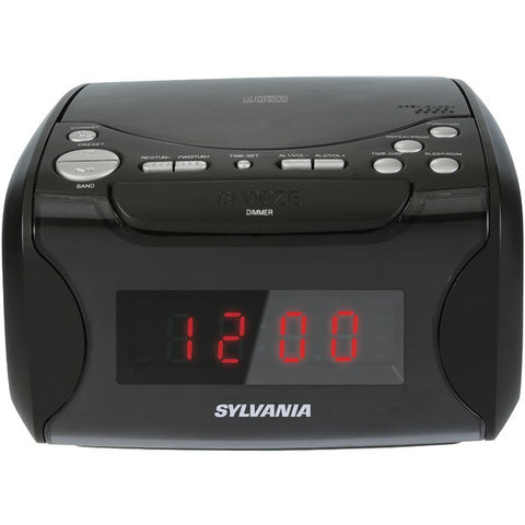 SYLVANIA SCR4986 USB-Charging CD Player Dual Alarm Clock AM/FM Radio - Black - Audiovideodirect