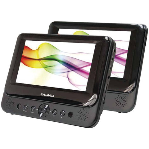 "Sylvania SDVD8739 7"" 16:9 TFT Displays Dual-Screen Portable DVD Player -Black"