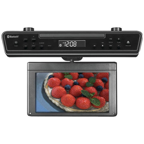 "Sylvania SKCR2706BT 10.2"" Under-Counter Bluetooth Kitchen TV w/ HDMI DVD Player"