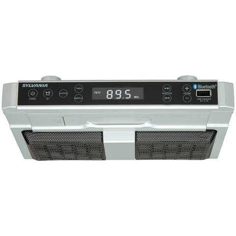 SYLVANIA SKCR2810BT Digital Clock Display Bluetooth Under-Cabinet Kitchen Radio - Audiovideodirect