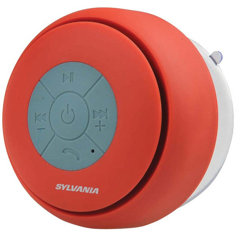 SYLVANIA SP230-RED Water-resistant Bluetooth Suction Cup Shower Speaker-Red - Audiovideodirect
