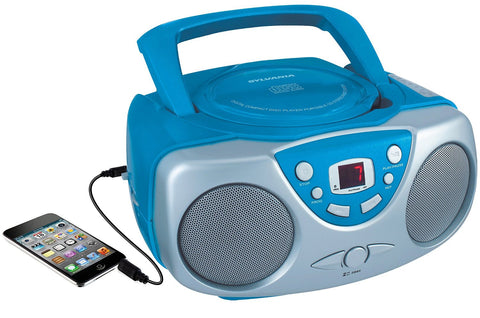 Sylvania Portable CD Boom Box with AM/FM Radio in Blue Color - Audiovideodirect