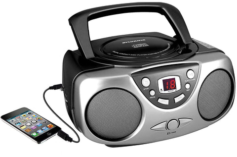 Sylvania SRCD243M-Black AM FM Portable Radio with LED Display - Audiovideodirect