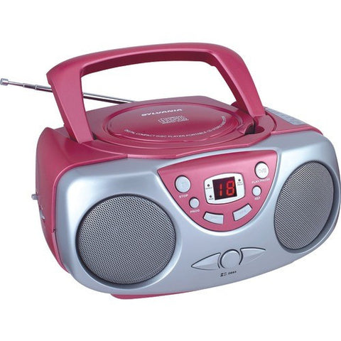 SYLVANIA SRCD243M-PINK Portable CD Boom Box with AM/FM Radio with Aux input