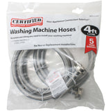 "CERTIFIED APPLIANCE WM48SS2PK Braided Stainless Steel Washing Machine Connector Hoses, 2 pk (4ft) 48"" - Audiovideodirect"
