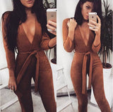 Belted Suede Jumpsuit