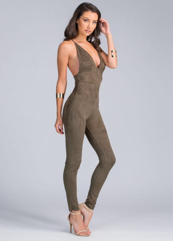 Deep V Backless Faux Suede Jumpsuit