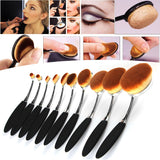 10 Pcs Professional  Oval Makeup Brush Set