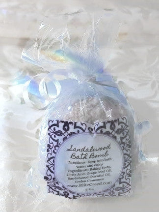 Sandalwood Bath Bomb elitecreed.com Baking Soda, Citric Acid, Grape Seed Oil, Sandalwood Essential Oils, Ceylon Cinnamon