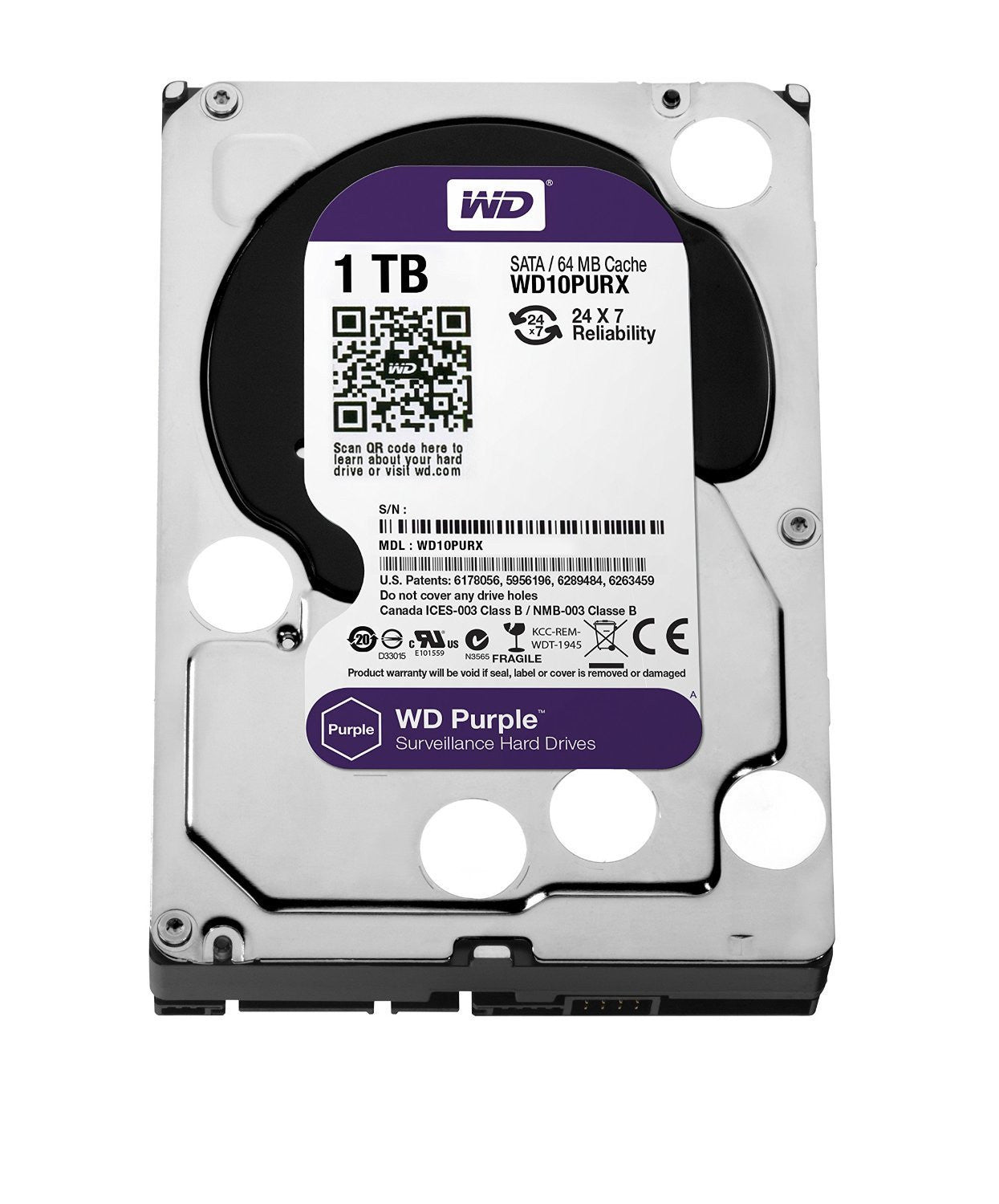 WD Purple 2TB Surveillance Hard Disk Drive - 5400 RPM Class SATA 6 Gb/s 64MB Cache 3.5 Inch - WD20PURX - Security-Smart-Shop