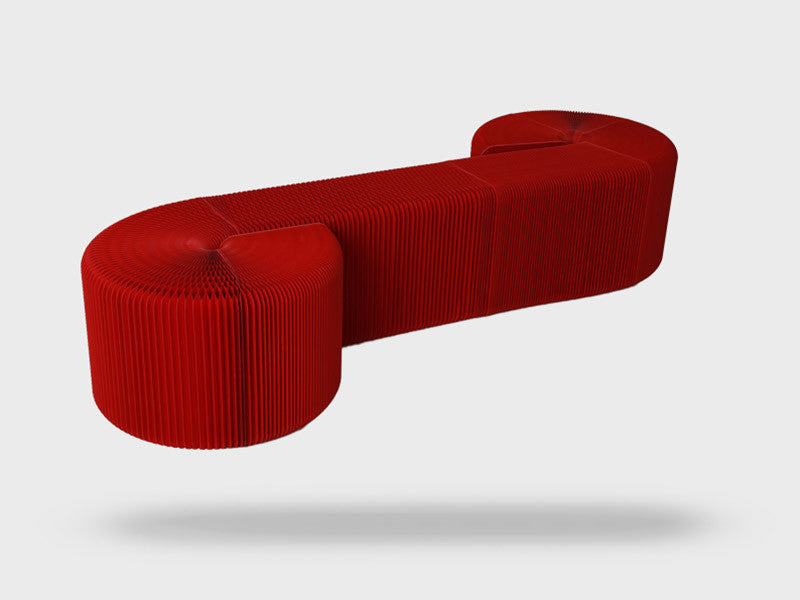 Foldable 12 Seater Red Bench