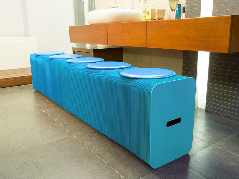 Foldable 6 Seater Blue Bench