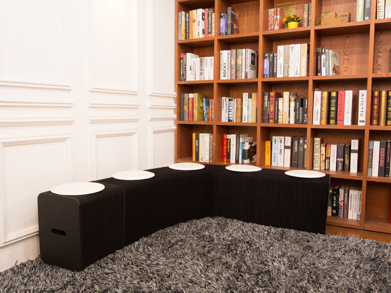 Foldable 6 Seater Black Bench