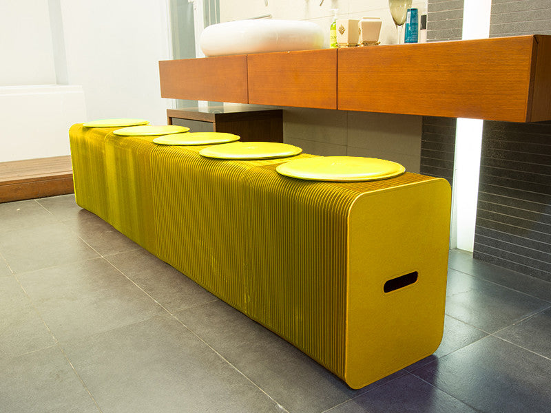 Foldable 6 Seater Yellow Bench