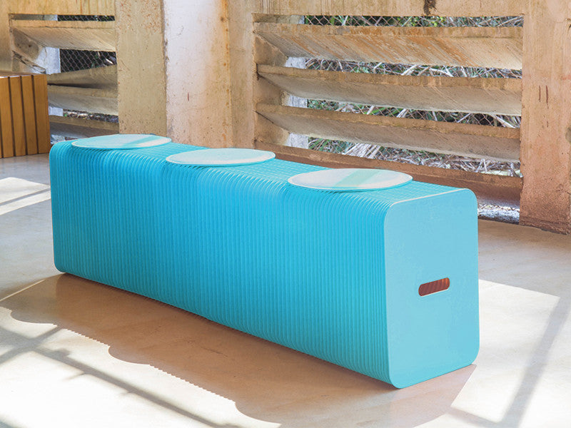 Foldable 3 Seater Blue Bench