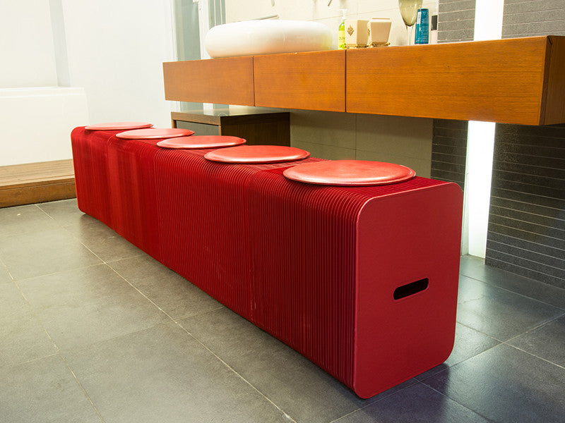 Foldable 6 Seater Red Bench
