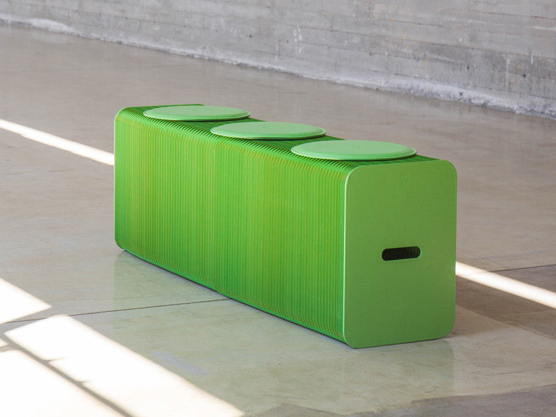 Foldable 3 Seater Green Bench