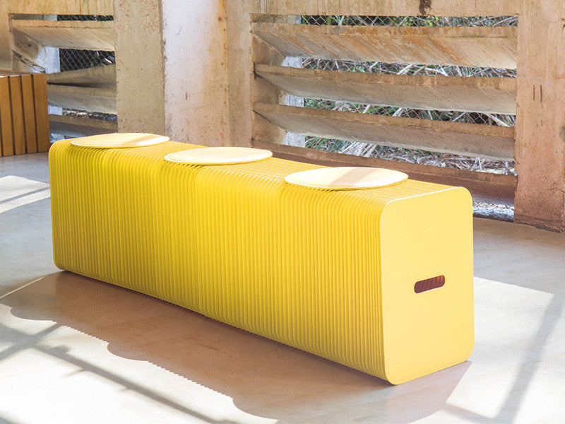 Foldable 3 Seater Yellow Bench