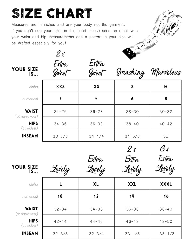 Limited Edition Leggings Size Chart