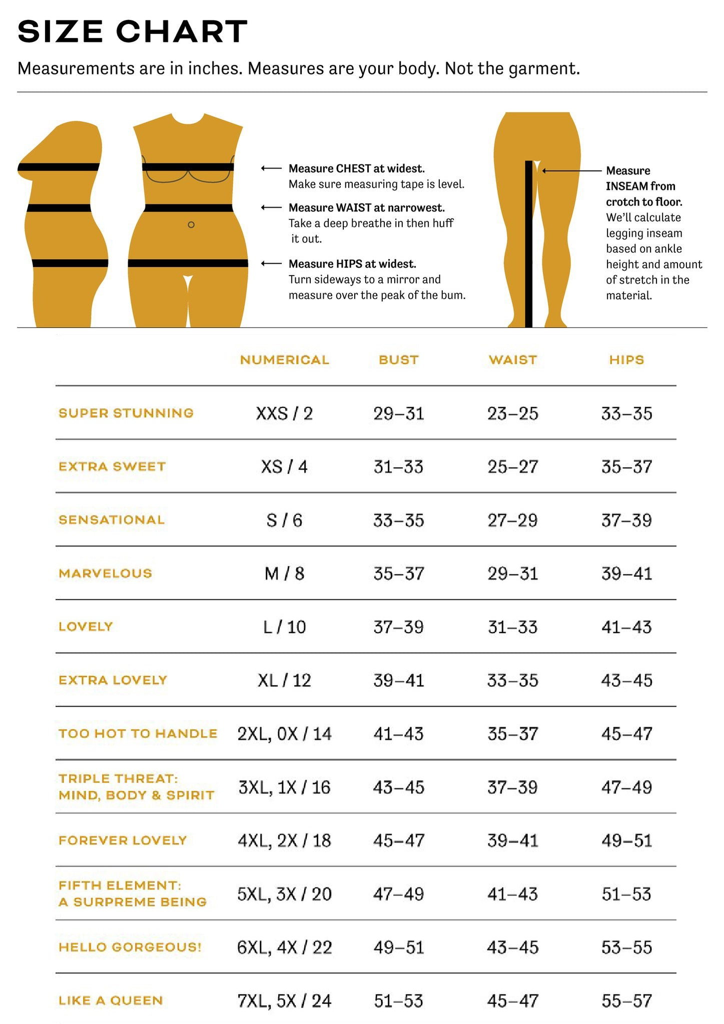 Size Chart for Bewildher