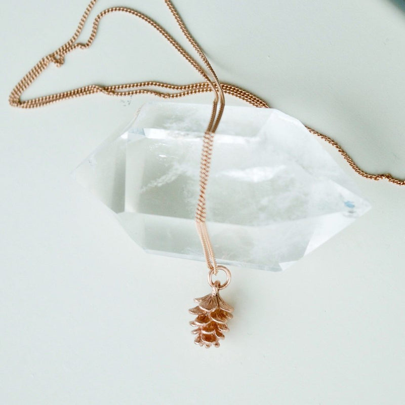 "The ""Tiny Pinecone"" Necklace - in Rose Gold"