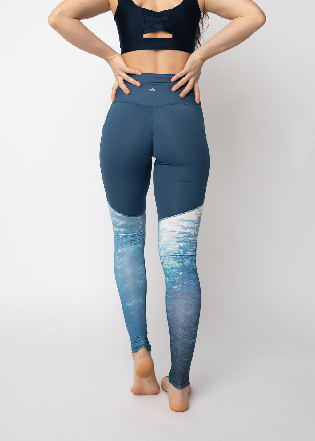 "Pack-light tights in ""Breathe Blue"" print"