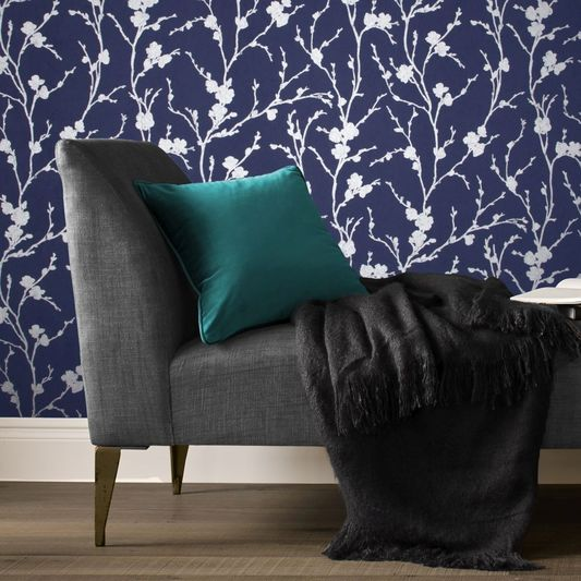 Silver and Cobalt Removable Wallpaper