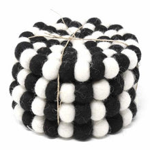 Load image into Gallery viewer, Hand Crafted Felt Ball Coasters from Nepal: 4-pack, Multicolor Black and White - Global Groove (T)