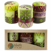 Load image into Gallery viewer, Hand Painted Candles in Kileo Design (box of three) - Nobunto