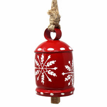 Load image into Gallery viewer, Recycled Rustic Red and White Snowflake Irong Hanging Bell