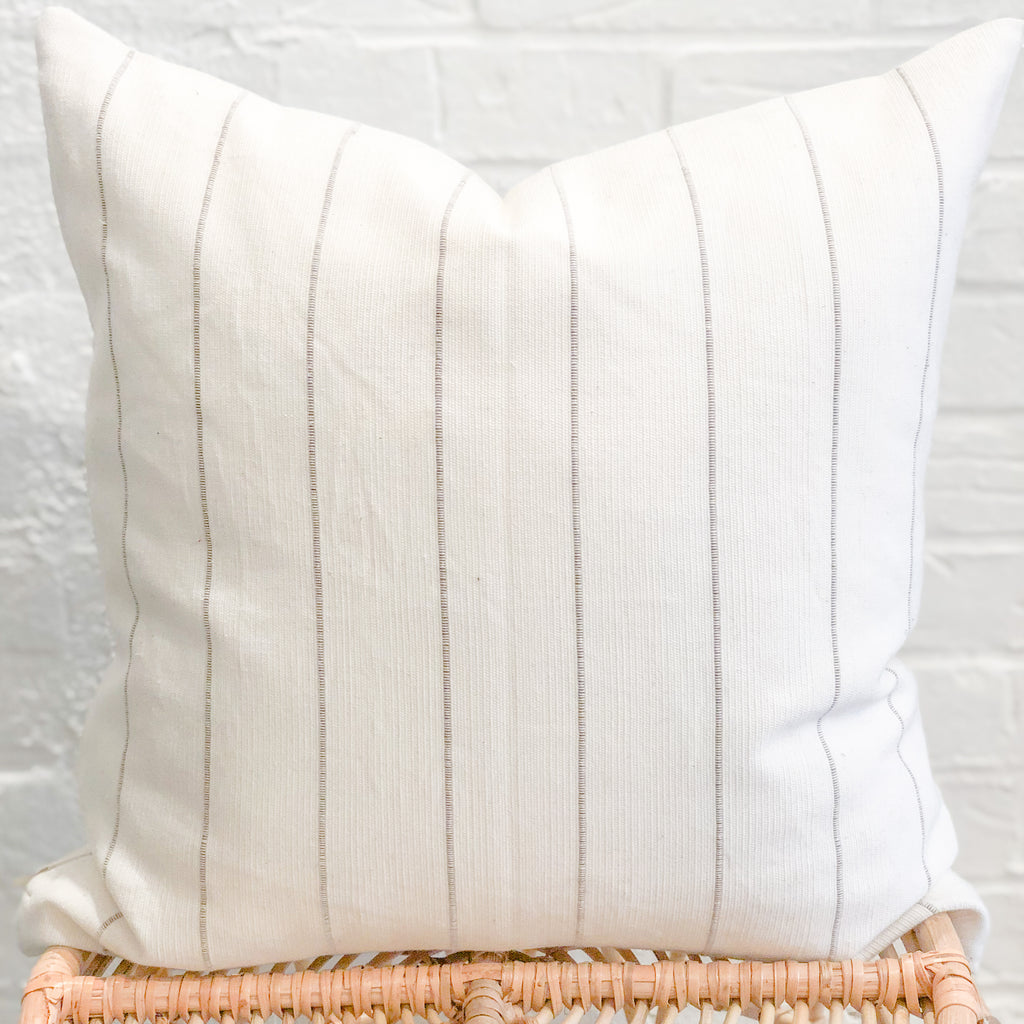 Dhalia Striped Throw Pillow in Camel