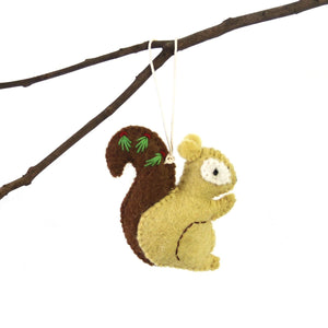Hand Felted Christmas Ornament: Squirrel - Global Groove (H)