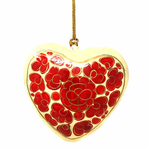 Handpainted Ornament Floral Heart