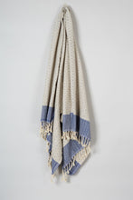 Load image into Gallery viewer, Turkish Cotton Blanket in Blue and Gray