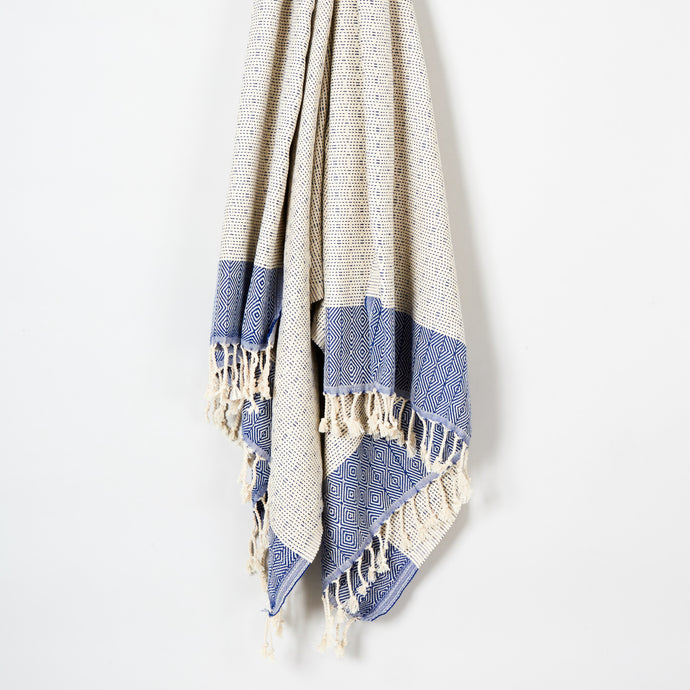 Turkish Cotton Blanket in Blue and Gray
